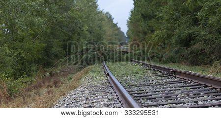 Railroad Tracks Near Fayetteville North Carolina Blocked By Hurricane Florence