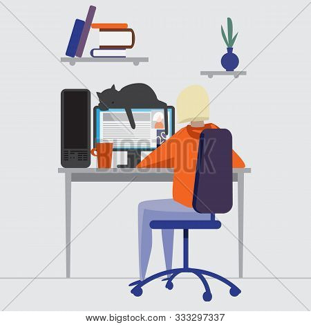 A Young Female Character Works On A Computer At Home. Workaholic. Freelance. Study Online