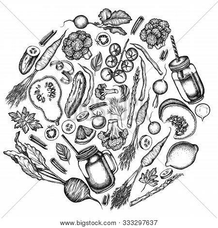 Round Design With Black And White Lemons, Broccoli, Radish, Green Beans, Cherry Tomatoes, Beet, Gree