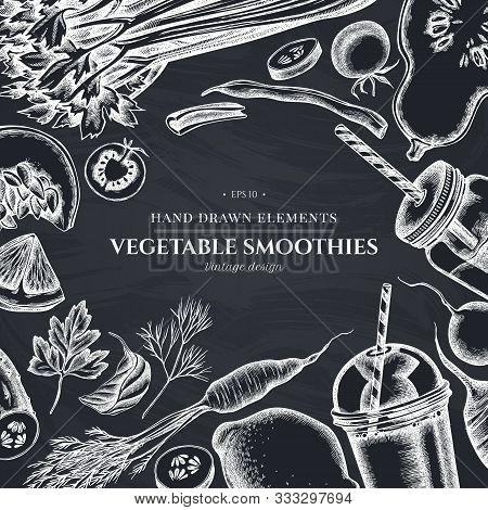 Design With Chalk Lemons, Broccoli, Radish, Green Beans, Cherry Tomatoes, Beet, Greenery, Carrot, Ba
