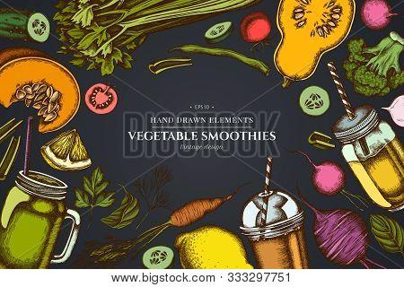 Design On Dark Background With Lemons, Broccoli, Radish, Green Beans, Cherry Tomatoes, Beet, Greener
