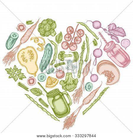 Heart Design With Pastel Lemons, Broccoli, Radish, Green Beans, Cherry Tomatoes, Beet, Greenery, Car