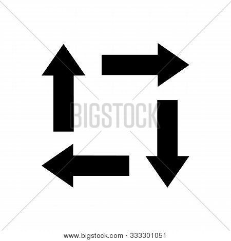 Bold Short Fat Chunky Black Flat Arrows Icon Set