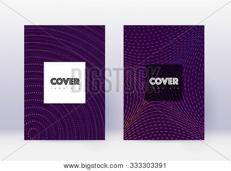 Hipster Cover Design Template Set. Violet Abstract Lines On Dark Background. Curious Cover Design. M