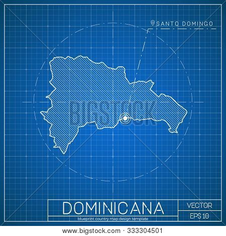 Dominicana Blueprint Map Template With Capital City. Vector Illustration.