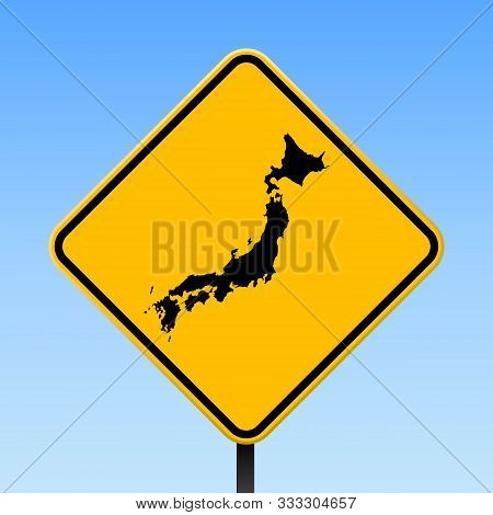 Japan Map Road Sign. Square Poster With Country Outline On Yellow Rhomb Signboard. Vector Illustrati