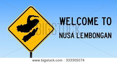 Nusa Lembongan Map Road Sign. Wide Poster With Island Outline On Yellow Rhomb Signboard. Vector Illu
