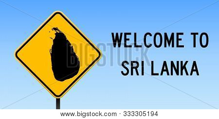 Sri Lanka Map Road Sign. Wide Poster With Country Outline On Yellow Rhomb Signboard. Vector Illustra