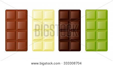 Collection Of Delicious Chocolate, Milk, Dark, White And Green Chocolate On White Background. Cartoo