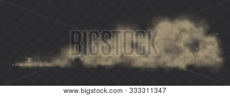 Road Dust Cloud From Driving Car Or Motorbike. Vector Realistic Splash Of Dirty Powder, Sand And Sto
