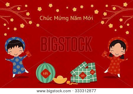 Hand Drawn Vector Illustration For Tet With Cute Kids In Ao Dai, Rice Cakes, Gold, Watermelon, Apric