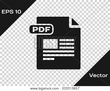 Grey Pdf File Document. Download Pdf Button Icon Isolated On Transparent Background. Pdf File Symbol
