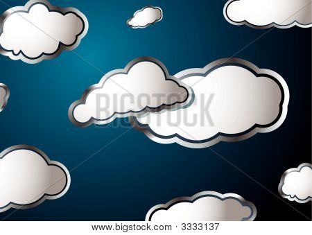 Forecast weather style background with fluffy white clouds poster