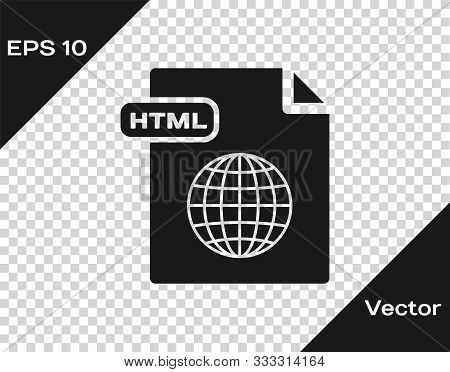 Grey Html File Document. Download Html Button Icon Isolated On Transparent Background. Html File Sym