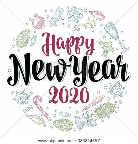 Circle Shape Set For Newyear 2020. Vector Vintage Color Engraving