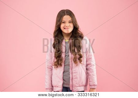 Street Style Outfit. Comfortable Outfit For Autumn. Trendy Outfit. Little Kid Wear Pink Bomber Jacke