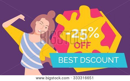 Cheerful Personage, Isolated Female Character Winking And Pointing On Herself. Proposition Of Shop,