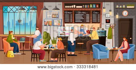 Cafe With People Sitting By Tables And Making Order By Counter Vector. Menu Of Coffee House Above Ba