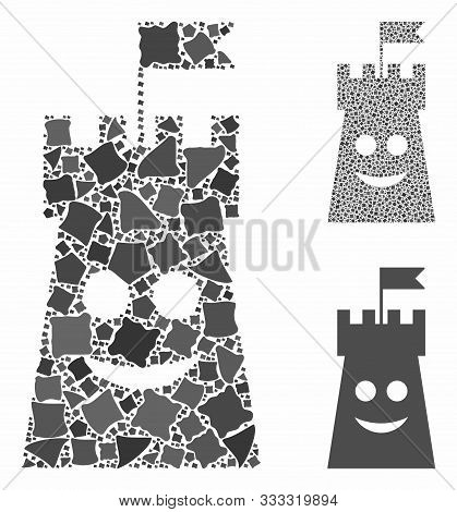Happy Bulwark Tower Composition Of Rugged Elements In Various Sizes And Color Tinges, Based On Happy