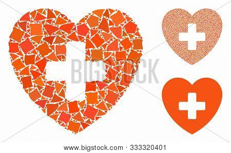 Cardiology Mosaic Of Rugged Parts In Various Sizes And Shades, Based On Cardiology Icon. Vector Ineq