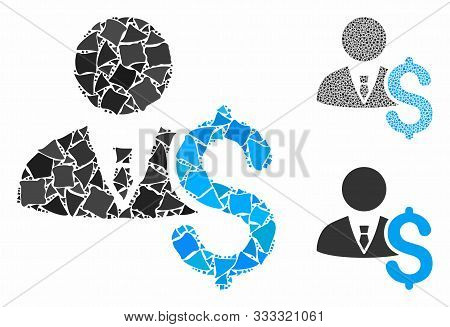 Banker Mosaic Of Ragged Items In Different Sizes And Color Tinges, Based On Banker Icon. Vector Uneq