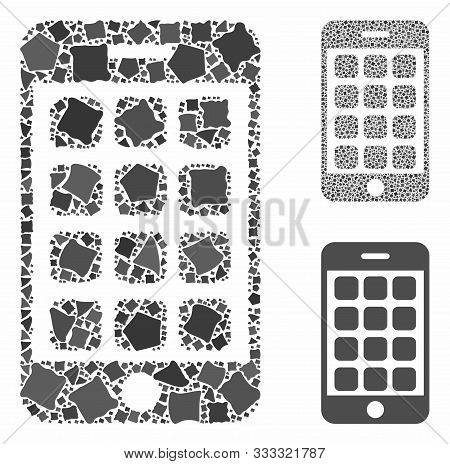 Mobile Apps Composition Of Uneven Items In Different Sizes And Color Hues, Based On Mobile Apps Icon