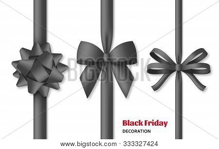 Collection Of Decorative Black Bows With Vertical Dark Colored Ribbons. Black Friday Decoration.