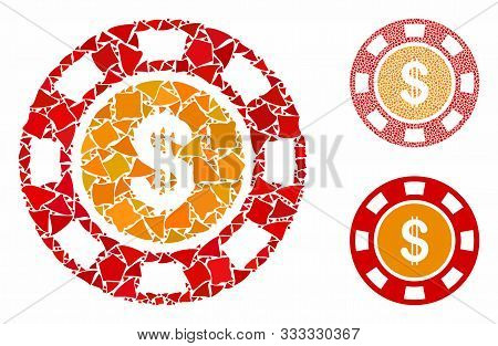Dollar Casino Chip Composition Of Uneven Parts In Various Sizes And Color Tones, Based On Dollar Cas