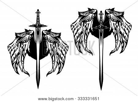 Set Of Medieval Sword Blades Pointing Down With Eagle Wings Spread - Black And White Vector Design F