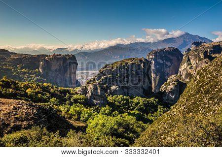 Beautiful Meteora Landscape Near Thessaly, Greece, Europe