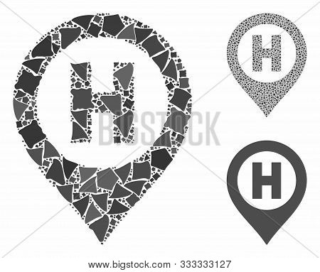 Hospital Letter Marker Mosaic Of Abrupt Items In Different Sizes And Color Hues, Based On Hospital L