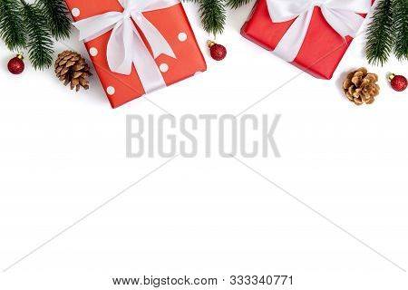 Christmas Holiday Composition With Red Gift Box And Decoration Isolated On White Background, New Yea
