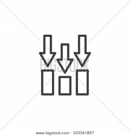 Decline Bar Chart Line Icon. Linear Style Sign For Mobile Concept And Web Design. Declining Graph Ar