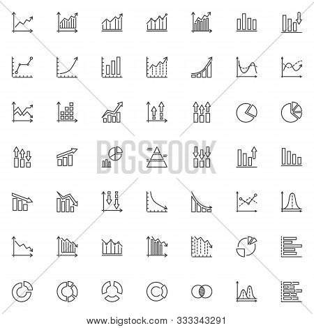 Graph And Diagram Line Icons Set. Infographics Linear Style Symbols Collection, Outline Signs Pack.