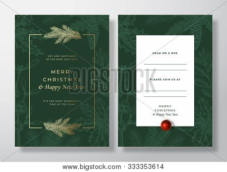 Christmas And New Year Abstract Vector Greeting Card, Poster Or Background. Back And Front Invitatio