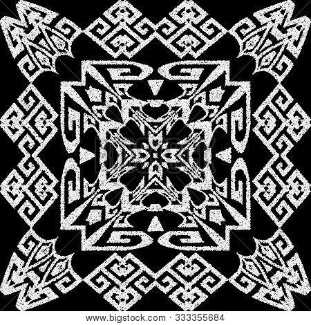 Textured Black And White Tribal Stippled Seamless Pattern. Vector Ornamental Greek Background. Moder