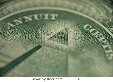 macro of one dollar - sign of mason (Freemason) pyramid with eye in triangle poster