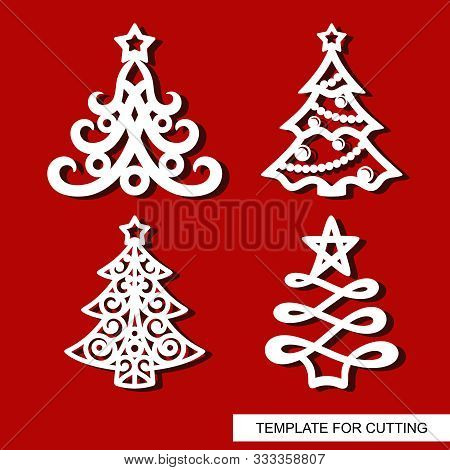 Set Of New Years Decorations - Christmas Trees With Stars, Balls, Garlands And Snowflakes. Template