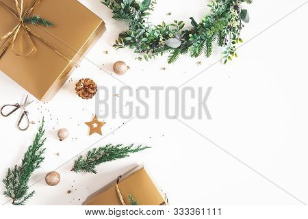 Christmas Composition. Gift Box, Wreath, Golden Decoration On White Background. Christmas, Winter, N