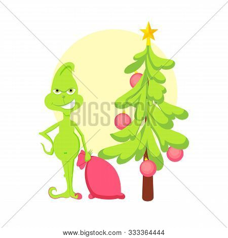 Grinch In Room Steal Santas Bag With Gifts , Christmas Tree Greeting Card