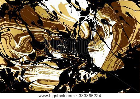 Black And Gold Ebru Texture. Abstract Vector Background