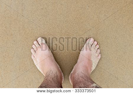 Male Feet Beach Sand Holiday Middle Aged Wet Vacation Smooth Legs Toes