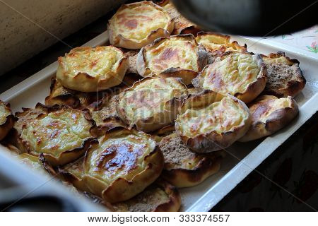 Pie Stuffed With Mashed Potatoes. Karelian Dishes