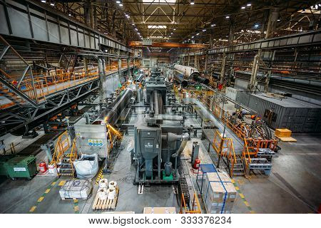 Peresvet, Moscow Region, Russia - June 21 2019: Polymer Layer Anti Corrosion Pipe Coating Machinery