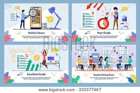 Set Flat, Student Dining Room, Poor Grade, Cartoon. Excellent Grade, Online Library. Failure Exam Is