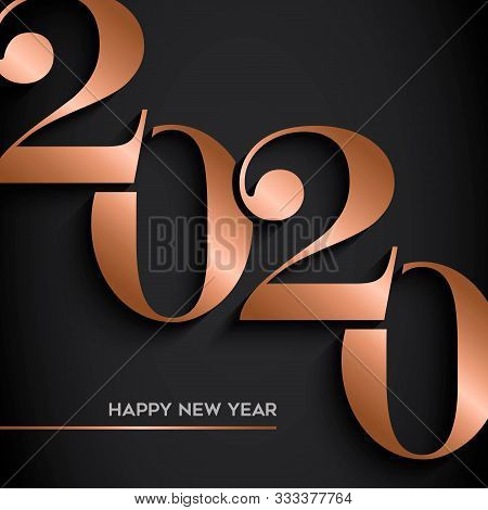 Happy New Year Holiday Greeting Card. Luxury Copper Calendar Number Design On Black Background For P