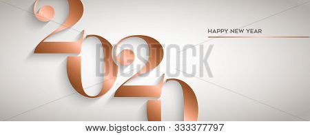 Happy New Year Holiday Greeting Card. Luxury Copper Calendar Number Design For Party Invitation Or 2