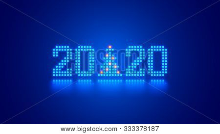 Hanging 2020 Number Year Or Digits And Christmas Tree Consisting Blue Shining Neon Square Pixels Wit