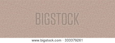 Hand Drawn Broken Vertical Textile Stripe Seamless Border Pattern. Burlap Linen Hand Drawn In Brown,