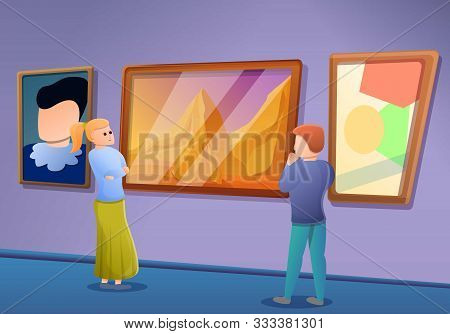 Picture Gallery Excursion Concept Banner. Cartoon Illustration Of Picture Gallery Excursion Vector C